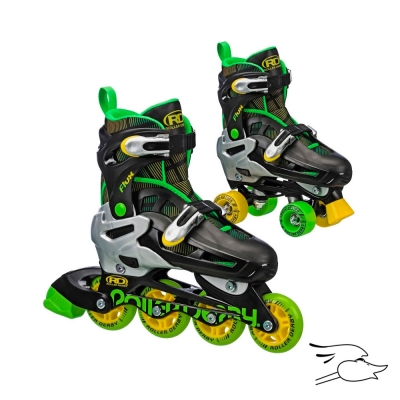 PATINES ROLLER DERBY FLUX BLACK-GREEN 2 EN 1