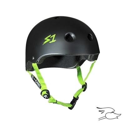 CASCO S-ONE LIFER BLACK MATTE BRIGHT GREEN STRAPS