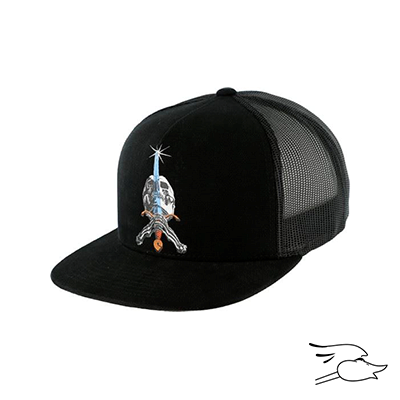 GORRA POWELL PERALTA SKULL & SWORD BLACK TRUCKER